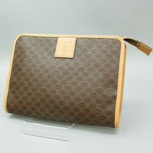 CELINE Macadam PVC Canvas Clutch Bag Purse Brown Made in Italy