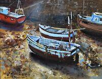 Richard Blowey Original Oil Painting - Harbour Boats Cornwall (Cornish Art)