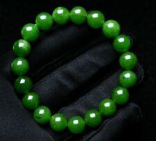 Gemstone Round Bead Bracelet Aaa 10mm Natural Nephrite Green Jadeite Jade