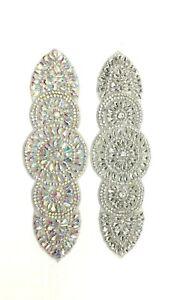 Beautiful Diamante Rhinestone Applique Trim Sew Iron on Bridal Dress Sash Belt
