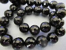 Black Onyx 12mm Faceted Round Beads 33pcs