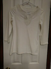 8e18e1aed71 Women s Charter Club Petite Size S Small 4 6 Ivory Stretch 3 4 Sleeve Top