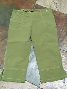 0620 ALPINE Med Olive Green Nylon Hiking Walkabout Cargo Quik Dry Crop Pants B