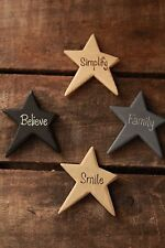 Primitive - Wooden Star Magnets - Family - Believe - Simplify - Smile (Set of 4)