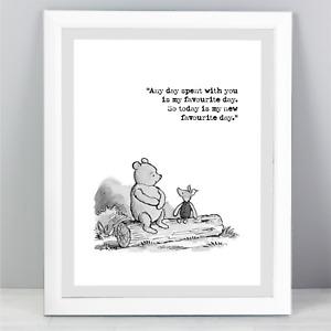 A5 Winnie The Pooh Quote Print Unframed Wall Art Minimalist Favourite Day B&W