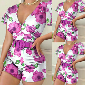 ❤️ Women's Summer Bodycon Mini Playsuits Ladies Floral Shorts Romper Jumpsuit US