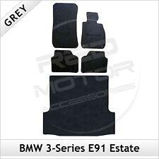 BMW SERIE 3 E91 Touring 2005-2013 2-clip su misura moquette auto e le stuoie di avvio Grigio