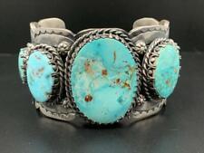 HUGE Sterling Silver & Blue Gem Turquoise Bracelet, Navajo Handmade, *6.65 oz*