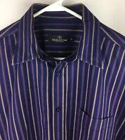 Bugatchi Uomo Mens Large Blue Stripe Button Down Shirt 100% Cotton