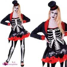 Ladies Mrs Bone Jangles Costume for Halloween Skeleton Fancy Dress Outfit Adult