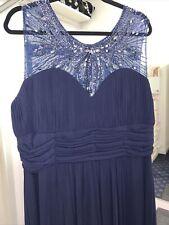 Dynasty Sequin Mesh V-neck Beaded Long Evening/prom Dress Size 18 navy BNWT