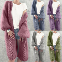 Women Chunky Knitted Cardigan Autumn Winter Warm Long Sleeve Jumper Sweater Coat
