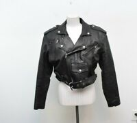 Vintage Wilson Medium Cropped Moto Leather Jacket Womens Thinsulate Black