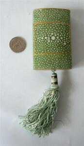 Vintage CARON Nuit De Noel Faux shagreen Paper Box only Tassel Green Art Deco