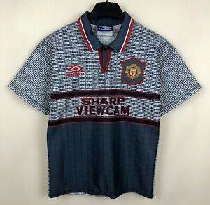 FC MANCHESTER UNITED 1995/1996 AWAY FOOTBALL JERSEY SOCCER SHIRT VINTAGE BOYS