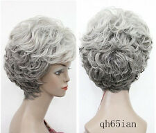 New!! Old Women wig mix Grey Curly ladies Wigs +wig cap