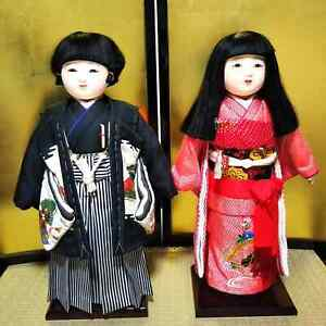 "LOT 2 Japanese Ichimatsu BOY & GIRL doll Kimono on wooden base 21.5"" 55cm  MINT"