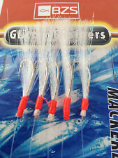 6 packets of glitter  flasher mackerel mackeral  feathers 5 hooks lures bass
