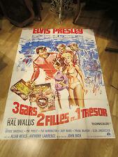 ancienne affiche cinema elvis presley 3 gars 2 filles et 1 tresor