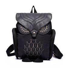 NEW Girl School Book Bag Women's Lovely Black Owl Backpack Shoulder Phone Bag