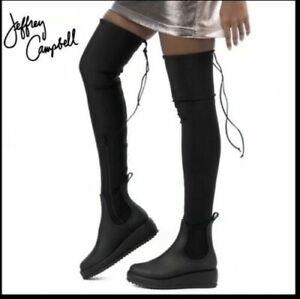Jeffrey Campbell Black Monsoon Over the Knee Platform Rain Boots $185 Sz 6 NEW