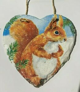 Gorgeous Squirrel christmas hanging heart slate, home decor