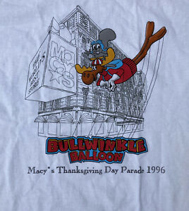 VINTAGE Bullwinkle Balloon Macys Thanksgiving Day Parade DEADSTOCK 1996 Shirt