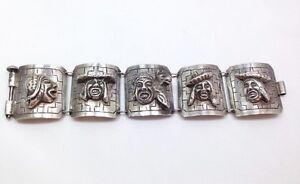 Vintage Peruvian Wide Storyteller Panel Bracelet 7 1/4 In 900 Sterling Silver