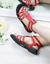 NEW LADIES WOMEN FLAT STUDDED SANDALS ANKLE STRAP BUCKLE SUMMER BEACH SHOES SIZE