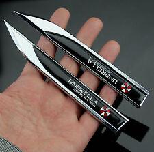 2pcs Auto Car Metal Knife Badges Emblems Sticker For UMBRELLA BLACK chrome NEW