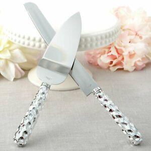 HAMMERED DESIGN HANDLE CAKE KNIFE & SERVER SET