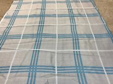 Grey duck egg blue check blackout material remnant crafts fabric piece 110x105cm