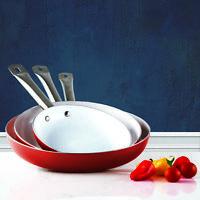 3 Pack Healthy Ceramic Frying Pan Set - Nonstick Ceramic Red Pans - Metal Handle