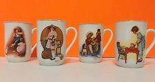 Vintage Norman Rockwell Set Of 4 Porcelain Collectible Mugs Coffee Cups