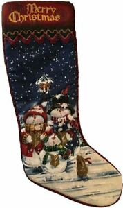 DELUXE CHRISTMAS STOCKING WITH SNOWMAN CAROL SINGERS *BARGAIN* 55cm