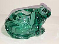 Vintage Heavy Green Glass Frog Tea Light Candle Holder See pics, Make offer!