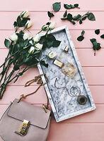 LONG MARBLE TRAY PERFUME SUNGLASSES DISH /BATHROOM VANITY LIVING HOME DECOR