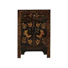 Black Lacquer Golden Butterflies End Table Nightstand cs5396