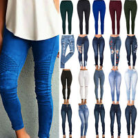 Women High Waisted Ripped Stretchy Slim Skinny Jeans Denim Jeggings Pencil Pants