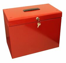 Red A4 Metal File Filing Box Home Office Storage Lockable 5 Free Suspension File