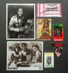 BOB MARLEY,ZIGGY,2 B/W Promo photos,3 vintage Backstage passes,2 Post cards