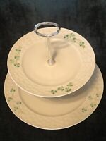 Belleek Two-Tiered Server -- Basket Weave pattern