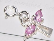 """Sterling Silver Diamond Angel Charm / Pendant With Gift Card """"MY 1ST DIAMOND"""""""