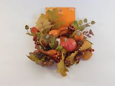 Fall Leaves Pumpkin Acorn Berries CANDLE RING Wreath AUTUMN HALLOWEEN DECORATION