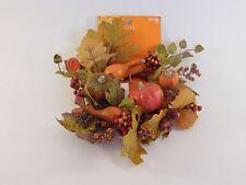 Fall Leaves Pumpkin Acorn Berries CANDLE RING Wreath AUTUMN HALLOWEEN DECORATION