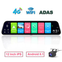 """12"""" Touch Screen backup camera car rear view mirror Android 8.1 car dvr dash cam"""