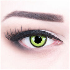 Coloured Contact Lenses Green black Reptile Contacts for Halloween + Free Case