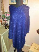 WOMANS GLITTER SHAWL WITH FRINGES IN BLUE