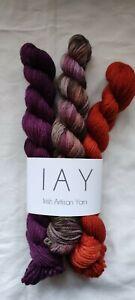 3 mini skeins Irish Artisan Yarn Superwash Merino 100% Orange Purple Multi
