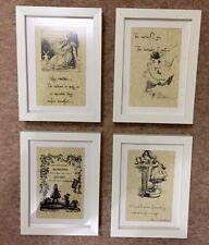 Set 4 vintage Alice Paese Delle Meraviglie Citazione PAZZO STAMPA FOTO CORNICI REGALO ❤